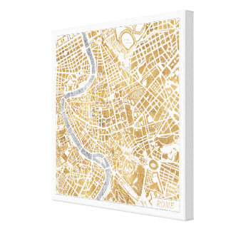 Gilded City Map Of Rome Canvas Print