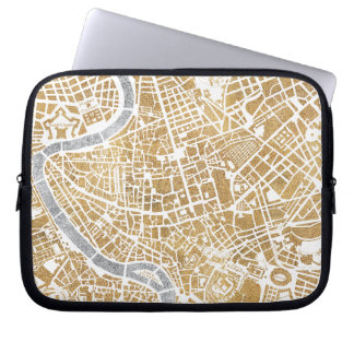 Gilded City Map Of Rome Laptop Sleeve