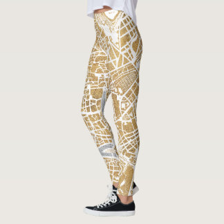 Gilded City Map Of Rome Leggings
