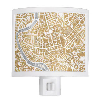 Gilded City Map Of Rome Night Lite