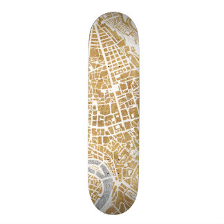 Gilded City Map Of Rome Skate Board