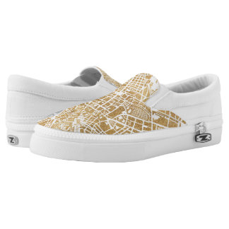 Gilded City Map Of Rome Slip-On Sneakers