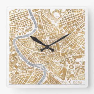 Gilded City Map Of Rome Square Wall Clock