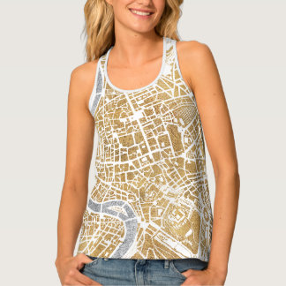 Gilded City Map Of Rome Tank Top