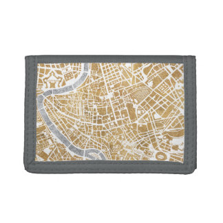 Gilded City Map Of Rome Trifold Wallet