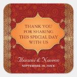 Gilded Edge Indian Frame Wedding Square Sticker