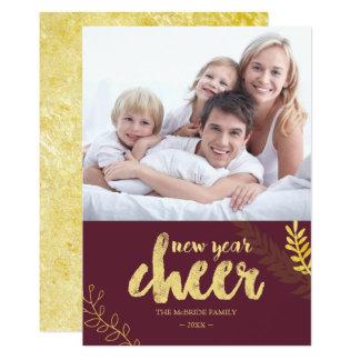 Gilded Foliage New Year Cheer Photo Card