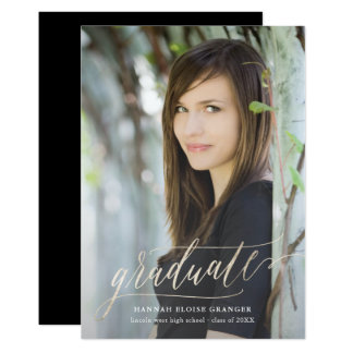 Gilded Grad Gold Script in Faux Foil Graduation Card