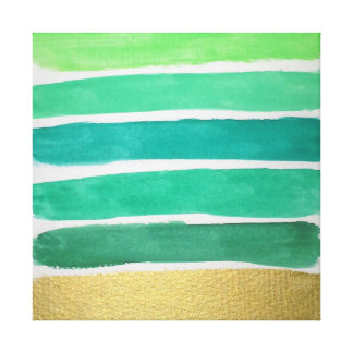 Gilded Green Stripes Canvas Print