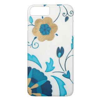 Gilded Indigo Flowers with White Background iPhone 7 Plus Case