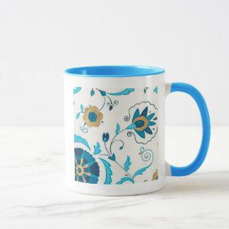Gilded Indigo Flowers with White Background Mug
