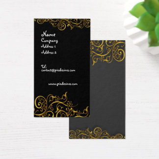 Gilded iron swirls business card