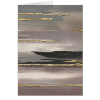Gilded Morning Fog II Gold Abstract Print Card