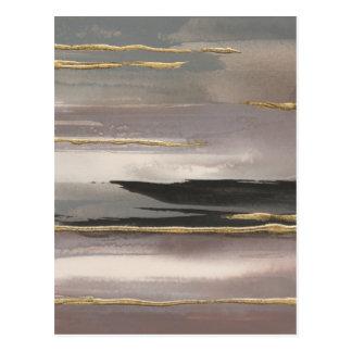 Gilded Morning Fog II Gold Abstract Print Postcard