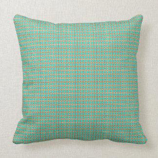 Gilded-Peacock_Fabric's(c)Aqua-Gold_Multi Throw Pillow