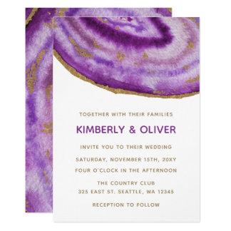 Gilded Purple Agate Wedding Invitations