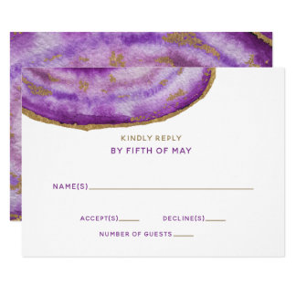 Gilded Purple Agate Wedding Invitations rsvp