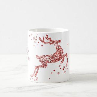 Gilded Red Reindeer Star Snowflakes Christmas Gift Coffee Mug