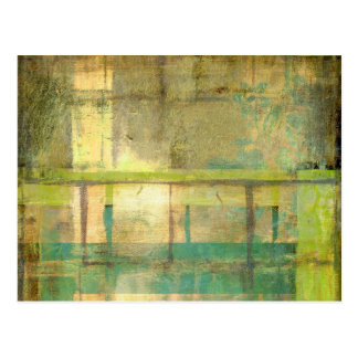 Gilded Turquoise and Green Abstract Painting Postcard