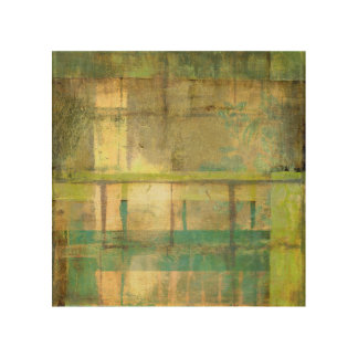 Gilded Turquoise and Green Abstract Painting Wood Wall Art