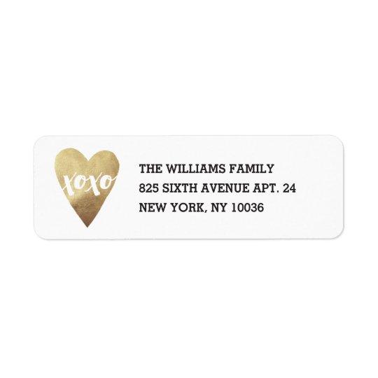 Gilded XOXO Address Label - White