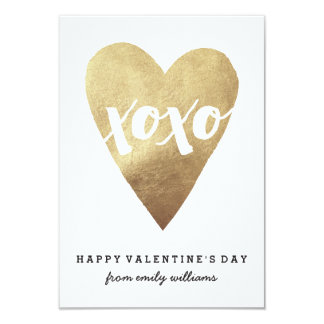 Gilded XOXO Classroom Valentine - White Card