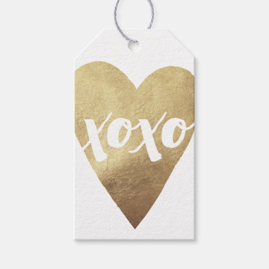Gilded XOXO Valentine's Day Gift Tag - White