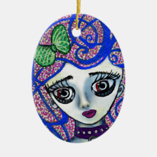 Gilly the Sad Emo Ceramic Oval Ornament