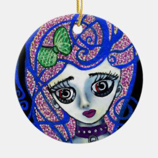 Gilly the Sad Emo Round Ceramic Ornament