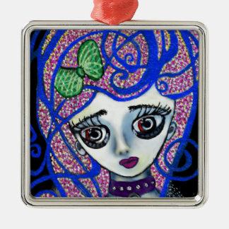 Gilly the Sad Emo Silver-Colored Square Ornament