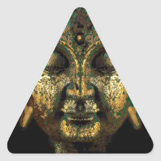Gilt Antique Buddha Face Gifts by Sharles Triangle Sticker
