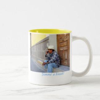 Gimme' a break! Two-Tone coffee mug