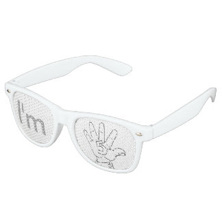 Gimme Five, Adult Retro Party Shades, White Party Sunglasses