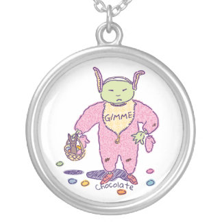 Gimme Ghoulie Chocolate Silver Plated Necklace