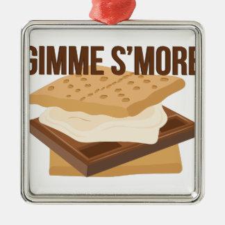 Gimme Smore Silver-Colored Square Ornament