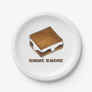 Gimme Smore S'mores Smores Camp Picnic Plate 7 Inch Paper Plate