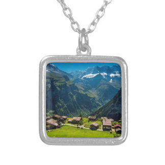 Gimmelwald In Swiss Alps - Switzerland Silver Plated Necklace