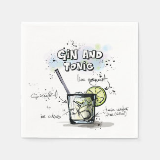 Gin and Tonic Drink Recipe Cocktail Napkin Disposable Napkin