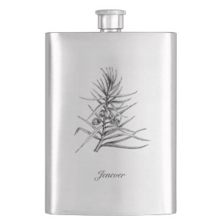 Gin Flask with Sprig of Juniper