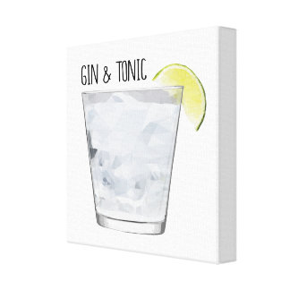 Gin & Tonic Geometric Kitchen Decor Bar Art Gift Canvas Print