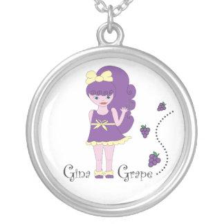 Gina Grape Round Pendant Necklace
