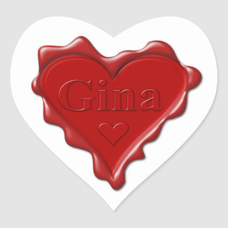 Gina. Red heart wax seal with name Gina Heart Sticker