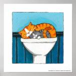 Ginger and Smokey - Whimsical Cat Art Print