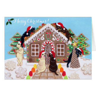 Ginger Bread House Labradors Painting Card