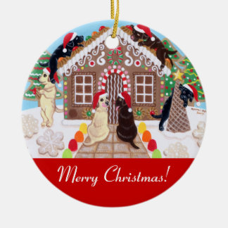 Ginger Bread House Labradors Painting Ceramic Ornament