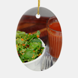 Ginger Carrot Tomato Dressing Watercress Salad Ceramic Oval Ornament