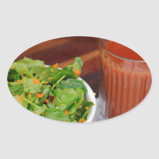 Ginger Carrot Tomato Dressing Watercress Salad Oval Sticker