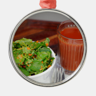 Ginger Carrot Tomato Dressing Watercress Salad Silver-Colored Round Ornament