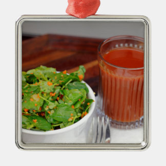 Ginger Carrot Tomato Dressing Watercress Salad Silver-Colored Square Ornament