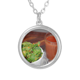 Ginger Carrot Tomato Dressing Watercress Salad Silver Plated Necklace